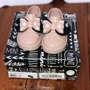 Mini Melissa be + Minnie disney pink bow shoes